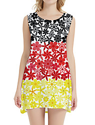 cheap -Women's Day Clutches Street Street chic Sheath Dress - Floral Print Rainbow XS S M L