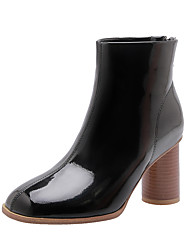 cheap -Women's Boots Chunky Heel Square Toe PU Booties / Ankle Boots Casual / British Fall & Winter Black / Pink / Beige