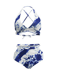 cheap -Women's Basic Blue Halter Cheeky Bikini Swimwear Swimsuit - Geometric Abstract Backless Criss Cross Lace up S M L Blue / Print