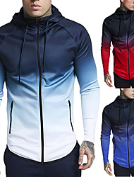 cheap -Men's Full Zip Cotton Track Jacket Running Jacket Hoodie Jacket Running Fitness Jogging Windproof Breathable Soft Sportswear Color Gradient Plus Size Jacket Hoodie Long Sleeve Activewear Micro-elastic