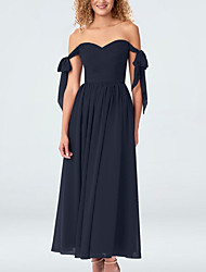 cheap -A-Line Off Shoulder Ankle Length Chiffon Elegant Prom / Formal Evening Dress with Bow(s) / Ruched / Pleats 2020