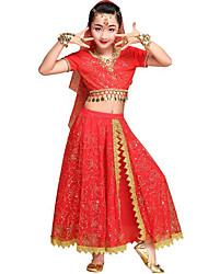 cheap -Belly Dance / Kids' Dancewear Outfits Girls' Performance / Theme Party Chiffon / Milk Fiber Scattered Bead Floral Motif Style / Lace / Glitter Short Sleeve Skirts / Top / Headpiece
