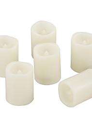 Недорогие -6pcs4 * 5 см пластиковые беспламенные светодиодные обету свечи на батарейках электрический чай свет реалистичные мерцающий теплое желтое пламя помахал краем с таймером 6 ч на Рождество украшение дома