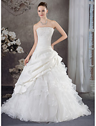 cheap -A-Line Wedding Dresses Strapless Chapel Train Organza Satin Strapless with Pick Up Skirt Beading Appliques 2020