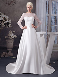 cheap -A-Line Jewel Neck Court Train Satin / Tulle 3/4 Length Sleeve Illusion Sleeve Wedding Dresses with Ruched 2020 / Bell Sleeve