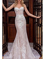 cheap -Mermaid / Trumpet Strapless Court Train Lace Strapless Wedding Dresses with Draping / Appliques 2020