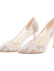 cheap -Women's Wedding Shoes Stiletto Heel Pointed Toe Lace Spring & Summer White