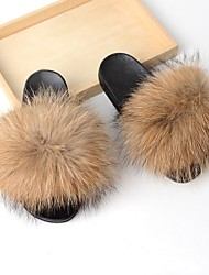 cheap -Women's Slippers House Slippers Casual Raccoon Fur Shoes