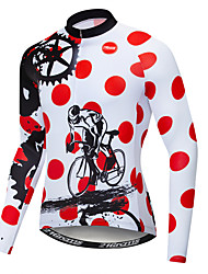 cheap -21Grams Polka Dot Novelty Gear Men's Long Sleeve Cycling Jersey - Red and White Bike Jersey Top UV Resistant Breathable Moisture Wicking Sports Winter Fleece Polyester Elastane Mountain Bike MTB Road