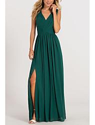 cheap -A-Line Elegant Formal Evening Dress V Neck Sleeveless Floor Length Chiffon with Pleats Split Front 2021