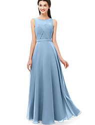 cheap -A-Line Jewel Neck Floor Length Chiffon Bridesmaid Dress with Ruching / Pleats