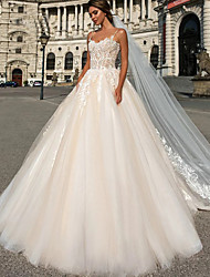 cheap -Ball Gown Wedding Dresses Sweetheart Neckline Chapel Train Lace Tulle Spaghetti Strap with Lace Crystals Beading 2020