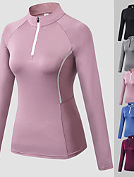 cheap -Women's Collar Compression Shirt Yoga Top Zip Front Fashion Black Burgundy Blue Pink Grey Mesh Running Fitness Gym Workout Tee / T-shirt Long Sleeve Sport Activewear Windproof Moisture Wicking Quick
