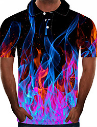 cheap -Men's Plus Size 3D Graphic Slim Polo Street chic Exaggerated Daily Going out Shirt Collar Purple / Short Sleeve