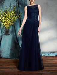 cheap -A-Line Bateau Neck Floor Length Chiffon Sleeveless Elegant & Luxurious Mother of the Bride Dress with Appliques / Crystals / Sash / Ribbon 2020