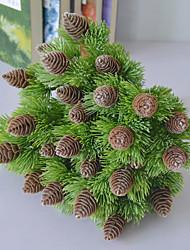 abordables -7 fourches haute qualité réaliste pin et cyprès simulation fleur plante décoration de la maison