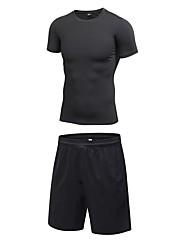 Недорогие -Муж. Activewear Set Одежда для тренировок Футболка и шорты для бега 2 предмета Бег Аэробика и фитнес Баскетбол Быстровысыхающий Фитнес, бег и йога Влагоотводящие Спортивная одежда Наборы одежды