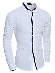 cheap -Men's Daily Shirt - Solid Colored White