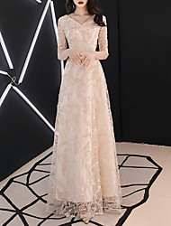 cheap -A-Line V Neck Floor Length Polyester Dress with Lace Insert by LAN TING Express