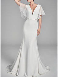 cheap -Mermaid / Trumpet V Neck Sweep / Brush Train Chiffon / Charmeuse Short Sleeve Wedding Dresses with Draping 2020