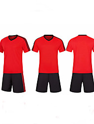 cheap -Men's Soccer Soccer Jersey and Shorts Clothing Suit Breathable Sweat-wicking Team Sports Active Training Football Stripes Polyester Adults Red