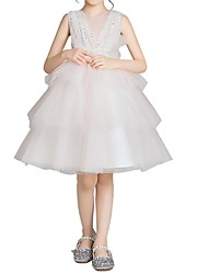 cheap -Princess Knee Length Pageant Flower Girl Dresses - Lace Sleeveless Jewel Neck with Bow(s)