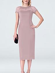 cheap -Sheath / Column Mother of the Bride Dress Plus Size Jewel Neck Tea Length Chiffon Short Sleeve with Split Front Ruching 2020