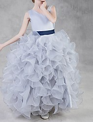 cheap -Ball Gown Floor Length Pageant Flower Girl Dresses - Polyester Sleeveless One Shoulder with Tier