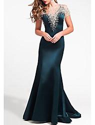 cheap -Sheath / Column Jewel Neck Sweep / Brush Train Satin Elegant Formal Evening Dress with Beading 2020