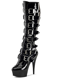 cheap -Women's Boots Stiletto Heel Pointed Toe Synthetics Knee High Boots Sweet / British Winter / Fall & Winter Black / Wedding / Party & Evening