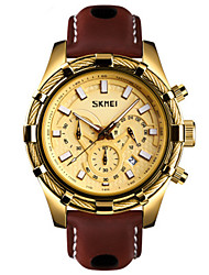 cheap -SKMEI Men's Dress Watch Quartz Stylish Genuine Leather Black / Brown 30 m Water Resistant / Waterproof Calendar / date / day Chronograph Analog Fashion - Black Gold Silver Two Years Battery Life