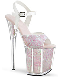 cheap -Women's Sandals Stiletto Heel Peep Toe PU British Spring & Summer Light Pink / Silver / Wedding / Party & Evening