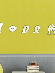 abordables -Lettre d'amour motifs bricolage TV fond décor miroir surface cristal stickers muraux acrylique 3d décalque de maison salon