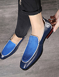 cheap -Men's Formal Shoes Suede Spring & Summer / Fall & Winter Business / Casual Loafers & Slip-Ons Walking Shoes Breathable Color Block Black / Brown / Blue / Party & Evening