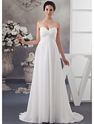 cheap -A-Line Wedding Dresses Sweetheart Neckline Court Train Satin Strapless with Ruched Beading Draping 2020