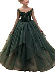 cheap -Ball Gown Floor Length Pageant Flower Girl Dresses - Polyester Sleeveless Jewel Neck with Lace