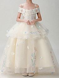 cheap -Ball Gown Sweep / Brush Train Pageant Flower Girl Dresses - Polyester Short Sleeve Spaghetti Strap with Appliques