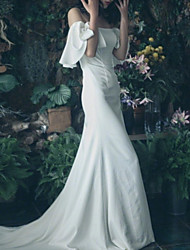 cheap -A-Line Wedding Dresses Off Shoulder Sweep / Brush Train Polyester Short Sleeve Formal Simple Little White Dress with Beading Draping 2020