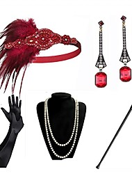 cheap -The Great Gatsby Vintage 1920s The Great Gatsby Gloves Flapper Headband Women's Feather Costume Necklace Earrings Black / Golden / Black+Golden Vintage Cosplay Festival / Headwear