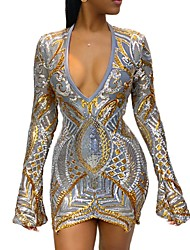 cheap -Women's Elegant Sheath Dress - Geometric Gold S M L XL