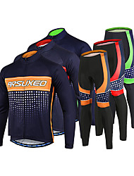 cheap -Arsuxeo Men's Long Sleeve Cycling Jersey with Tights Winter Fleece Polyester Spandex Black / Red Black / Yellow Black / Green Plaid / Checkered Bike Clothing Suit Thermal / Warm Breathable 3D Pad