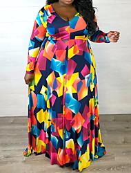 cheap -Women's Street chic Elegant A Line Sheath Swing Dress - Geometric Rainbow White Blue, Print Rainbow XL XXL XXXL XXXXL