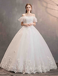 cheap -Ball Gown Off Shoulder Floor Length Lace / Tulle Short Sleeve Made-To-Measure Wedding Dresses with Appliques 2020