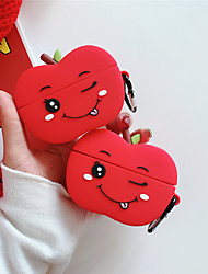 cheap -Case for Apple Air Pods 1st generation 2nd generation universal Cute red apple shape frosted soft silicone material Bluetooth headset protection case