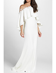 cheap -Sheath / Column Wedding Dresses Jewel Neck Sweep / Brush Train Jersey 3/4 Length Sleeve Simple Backless Elegant with Appliques 2021