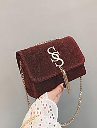cheap -Women's Tassel / Chain Satin Crossbody Bag Chain Bag Solid Color Black / Blue / Red