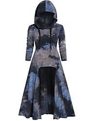 cheap -Women's Street Dress Street chic Swing Dress - Tie Dye Patchwork Black Purple Yellow S M L XL