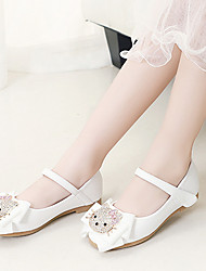 cheap -Girls' Flower Girl Shoes PU Flats Little Kids(4-7ys) / Big Kids(7years +) Bowknot / Sparkling Glitter / Buckle White / Pink Spring / Fall / Party & Evening