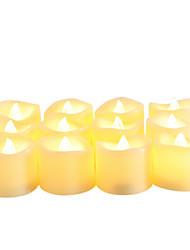 Недорогие -12 шт. 4 * 4 см пластиковые беспламенные светодиодные обету свечи на батарейках электрический чай свет реалистичные мерцающий желтое пламя помахал краем с таймером 6 ч на Рождество украшение дома ну