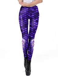 cheap -Women's Dailywear / Yoga Sporty / Basic Legging - Geometric, Print Mid Waist Blue S M L